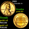 1961 Lincoln Cent 1c Grades Gem++ Proof Red