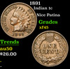 1891 Indian Cent 1c Grades xf+