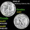 1941-d . . Walking Liberty Half Dollar 50c Grades Select Unc