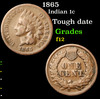 1865 Indian Cent 1c Grades f, fine
