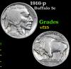 1916-p . . Buffalo Nickel 5c Grades vf+