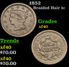 1852 Braided Hair Large Cent 1c Grades xf