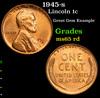 1945-s Lincoln Cent 1c Grades GEM Unc RD