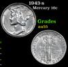 1943-s Mercury Dime 10c Grades Choice AU