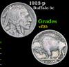 1923-p Buffalo Nickel 5c Grades vf+