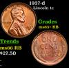 1937-d Lincoln Cent 1c Grades Gem+ Unc RB