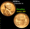 1936-s Lincoln Cent 1c Grades Select+ Unc RD