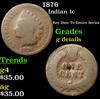1876 Indian Cent 1c Grades g details