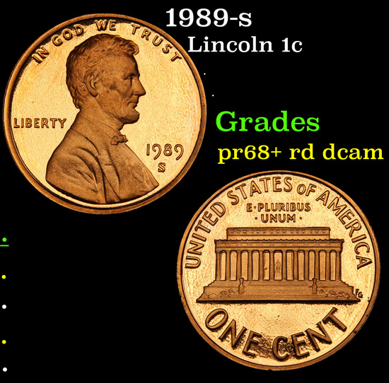 1989-s Lincoln Cent 1c Grades Gem++ Proof Red Deep cameo