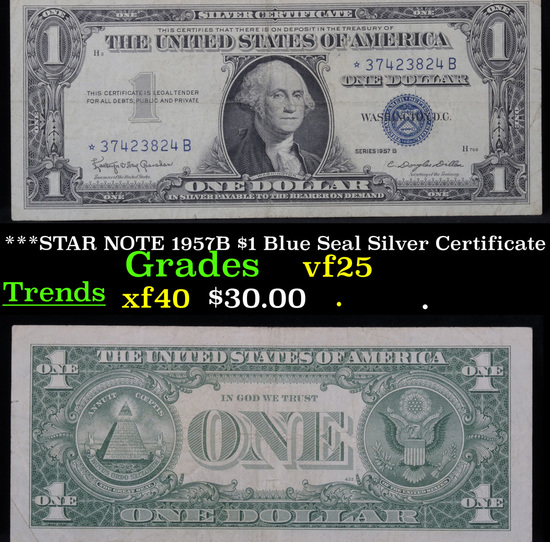 ***STAR NOTE 1957B $1 Blue Seal Silver Certificate . . Grades vf+