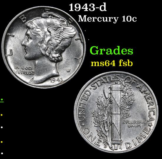 1943-d Mercury Dime 10c Grades Choice Unc FSB