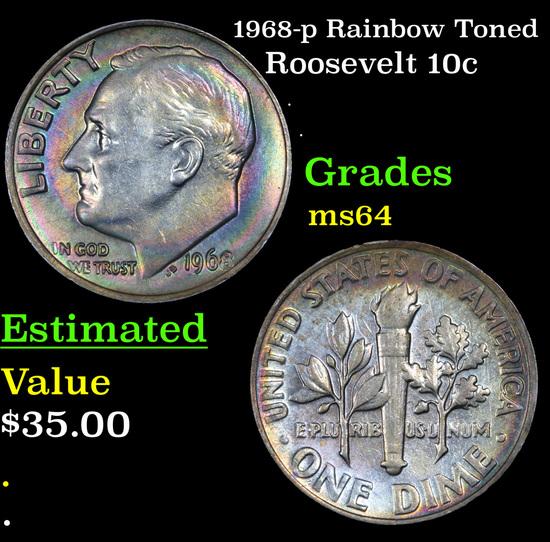 1968-p Rainbow Toned Roosevelt Dime 10c Grades Choice Unc
