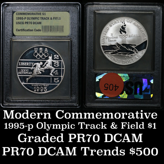 1995-P Olympics Track & Field . . Proof Commem Half Dollar 50c Graded GEM++ Proof Deep Cameo By USCG