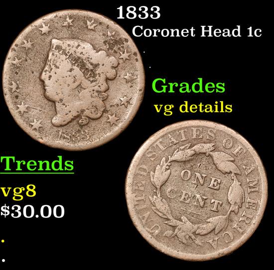 1833 Coronet Head Large Cent 1c Grades vg details