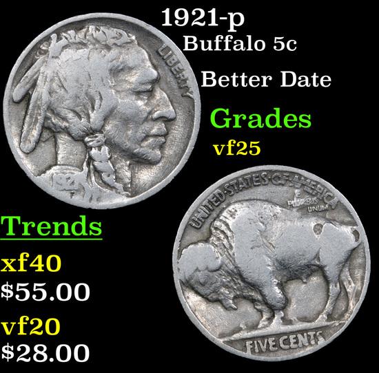 1921-p Buffalo Nickel 5c Grades vf+