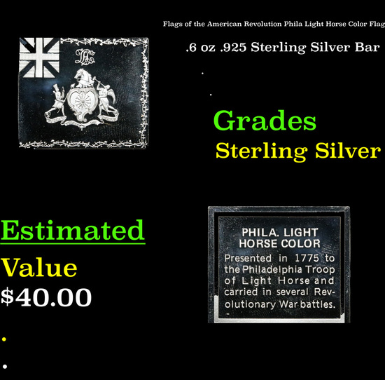 Flags of the American Revolution Phila Light Horse Color Flag .6 oz .925 Sterling Silver Bar Grades