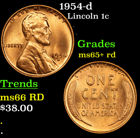 1954-d Lincoln Cent 1c Grades Gem+ Unc RD