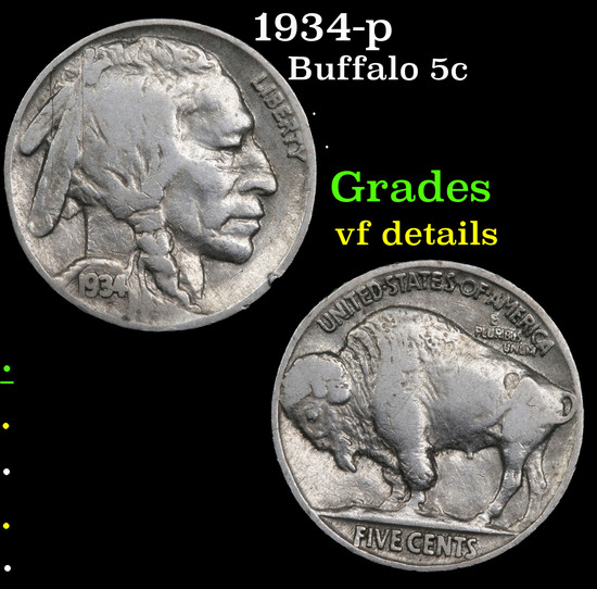 1934-p Buffalo Nickel 5c Grades vf details