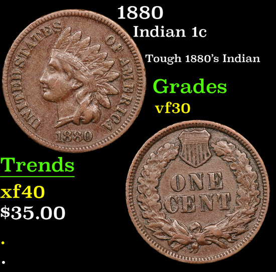 1880 Indian Cent 1c Grades vf++