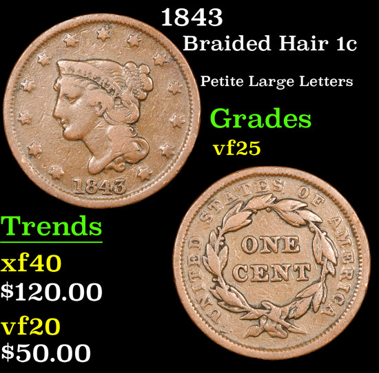 1843 Braided Hair Large Cent 1c Grades vf+
