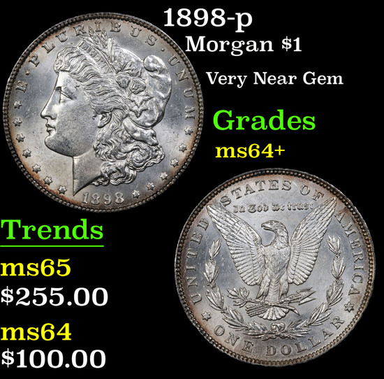 1898-p Morgan Dollar $1 Grades Choice+ Unc