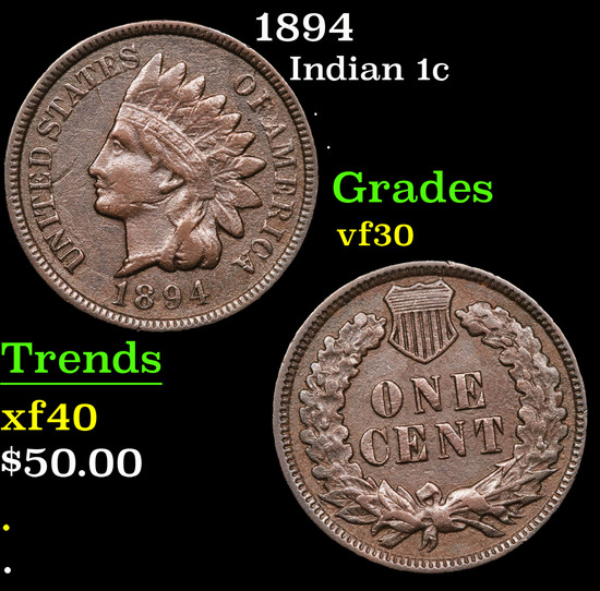 1894 Indian Cent 1c Grades vf++