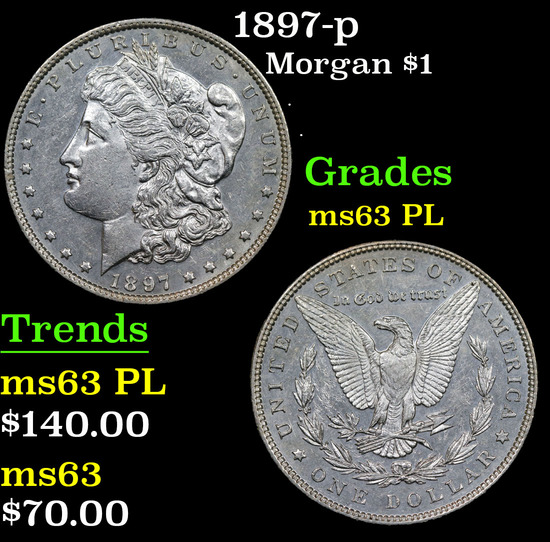 1897-p Morgan Dollar $1 Grades Select Unc PL