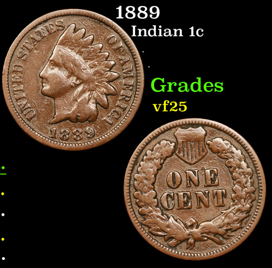 1889 Indian Cent 1c Grades vf+