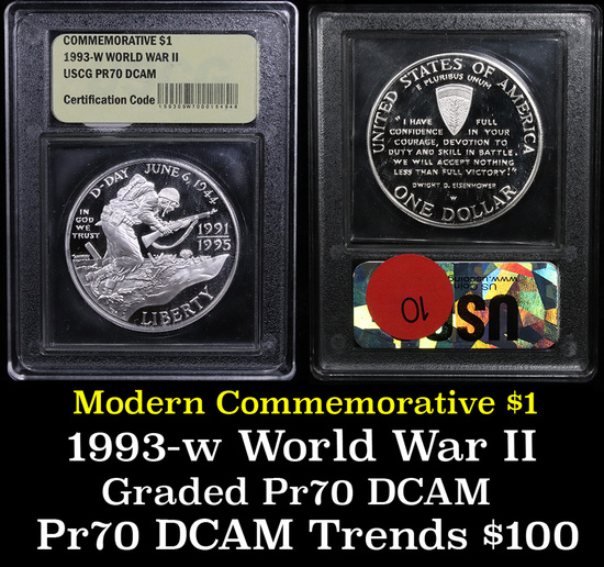 1991-1995-w WWII Modern Commem Dollar $1 Grades GEM++ Proof Deep Cameo
