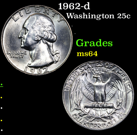 1962-d Washington Quarter 25c Grades Choice Unc
