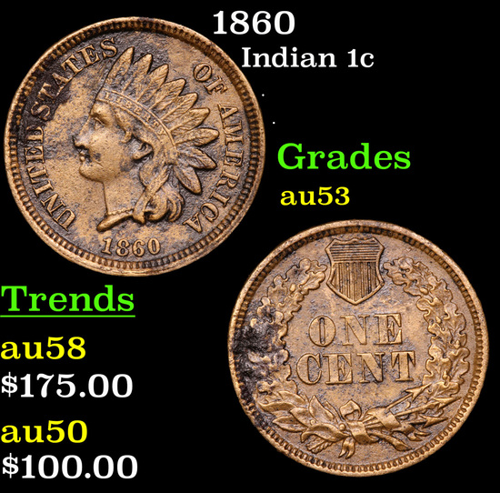 1860 Indian Cent 1c Grades Select AU