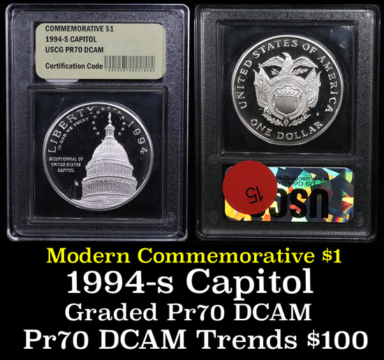 1994-s Capitol Modern Commem Dollar $1 Grades GEM++ Proof Deep Cameo