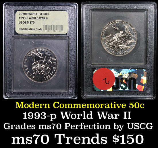 1991-1995-P WWII Modern Commem Half Dollar 50c Grades ms70, Perfection