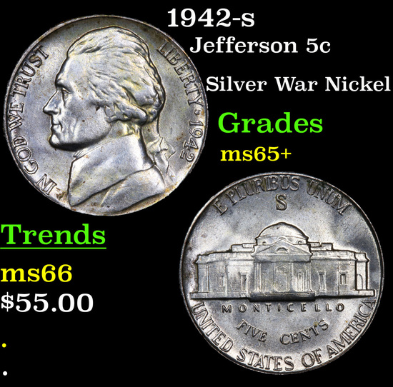 1942-s Jefferson Nickel 5c Grades GEM+ Unc