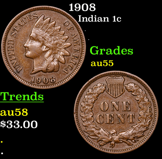 1908 Indian Cent 1c Grades Choice AU