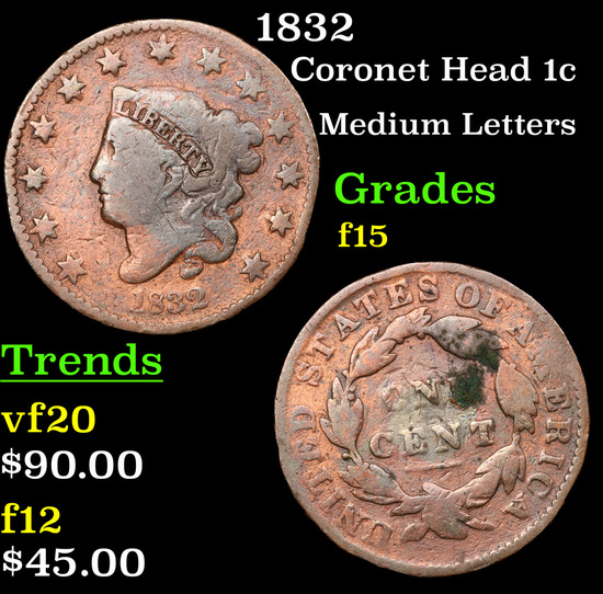 1832 Coronet Head Large Cent 1c Grades f+