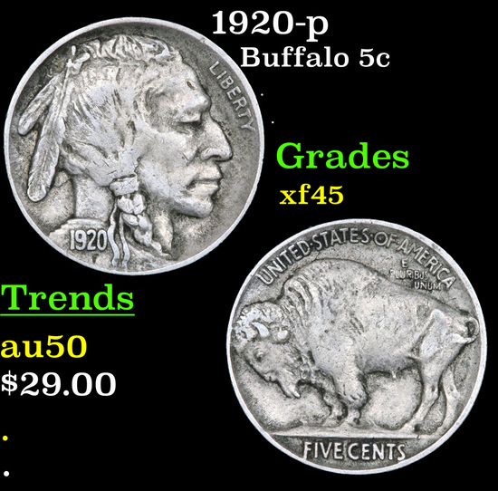 1920-p Buffalo Nickel 5c Grades xf+