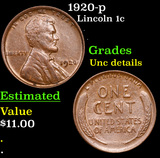 1920-p Lincoln Cent 1c Grades Unc Details