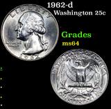 1962-d Washington Quarter 25c Grades Choice Unc