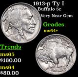 1913-p Ty I Buffalo Nickel 5c Grades Choice+ Unc