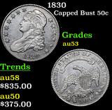 1830 Capped Bust Half Dollar 50c Grades Select AU