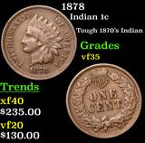 1878 Indian Cent 1c Grades vf++