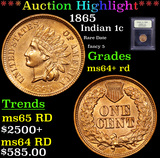 ***Auction Highlight*** 1865 Indian Cent 1c Graded Choice+ Unc RD By USCG (fc)