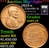 ***Auction Highlight*** 1923-s Lincoln Cent 1c Graded Select Unc RD By USCG (fc)