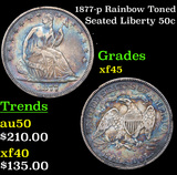 1877-p Rainbow Toned Seated Half Dollar 50c Grades xf+