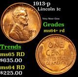 1913-p Lincoln Cent 1c Grades Choice+ Unc RD