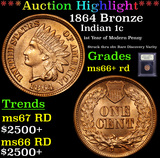 ***Auction Highlight*** 1864 Bronze Indian Cent 1c Graded GEM++ RD By USCG (fc)