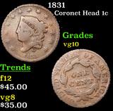 1831 Coronet Head Large Cent 1c Grades vg+