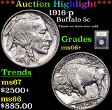 ***Auction Highlight*** 1916-p Buffalo Nickel 5c Graded GEM++ Unc By USCG (fc)