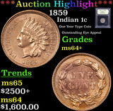 ***Auction Highlight*** 1859 Indian Cent 1c Graded Choice+ Unc By USCG (fc)